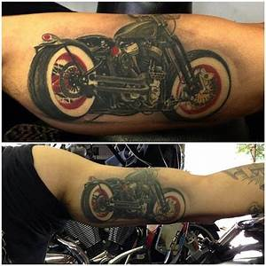Hyper-realistic motorcycle tattoo...wow! @kylewoodtattoos ...