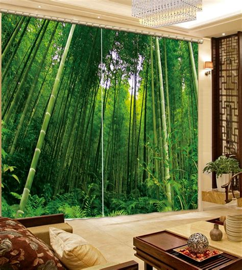 style green bamboo curtains  living room  window