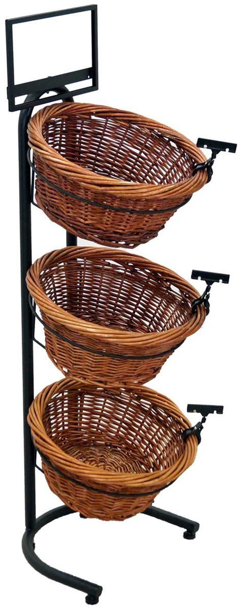 three tier floor l 3 tier basket stand wicker w sign clips