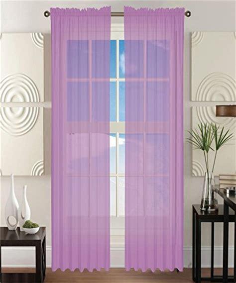 2 solid lavender purple sheer window curtains drape