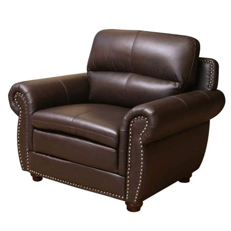 abbyson living harrison leather arm chair in brown jc