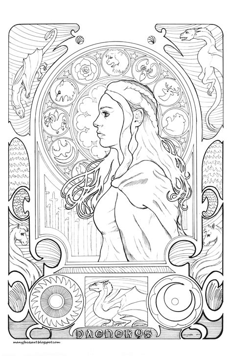 My Art Nouveau/Game of Thrones inspired image of Danaerys Targaryen | Coloring books, Colorful