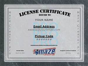 maze creator newsletter sept 2008 With software license certificate template
