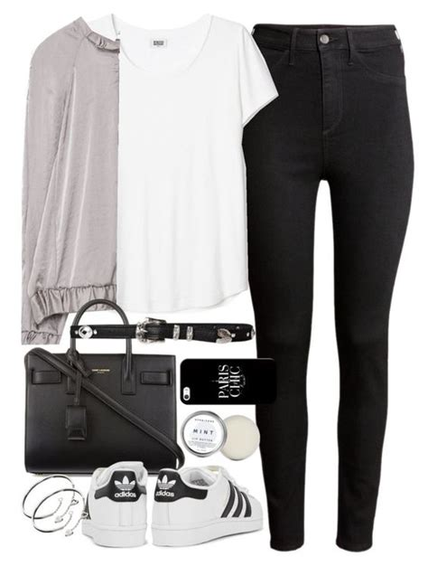 U0026quot;Outfit for college with a bomber jacket and Adidas sneakersu0026quot; by ferned on Polyvore featuring H ...