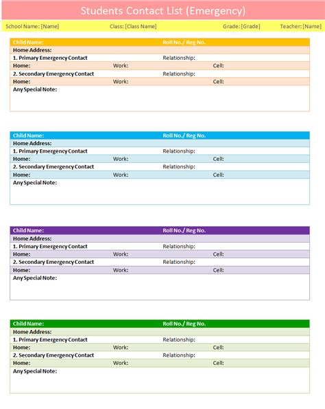 home design checklist students contact list template emergency dotxes