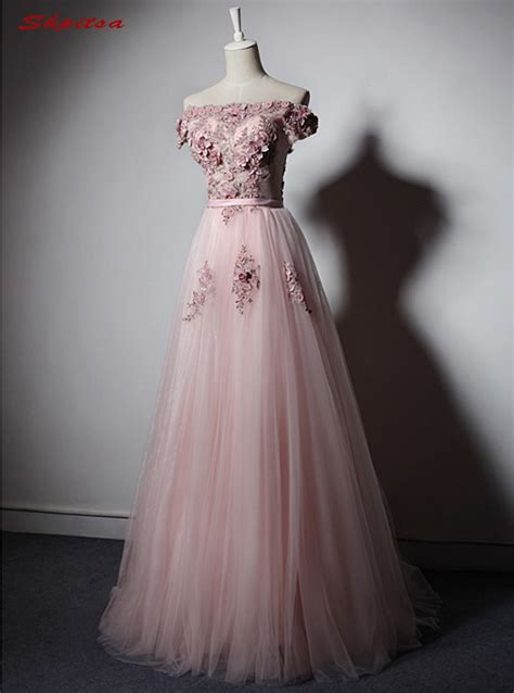 pink long lace evening dresses party   beautiful