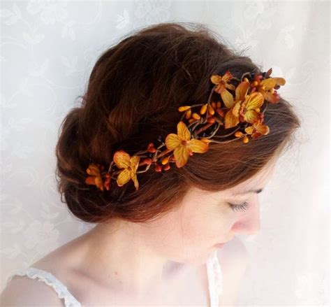 Fall Wedding Hair Accessories Copper Orange Bridal
