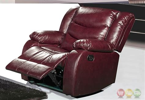 644burg burgundy leather rocker reclining chair with