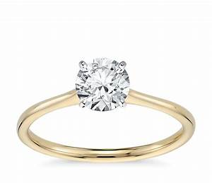petite solitaire engagement ring in 18k yellow gold blue With wedding solitaire rings