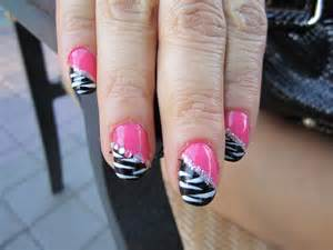 Blanca pink and black zebra nail design blue rhinestones