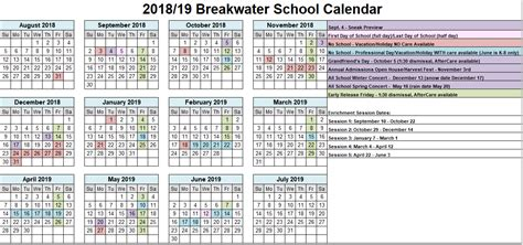 school calendar breakwater school