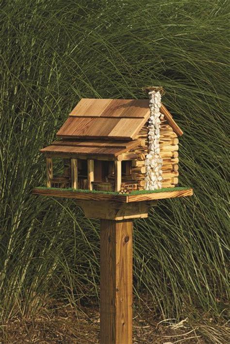 log cabin garden bird feeder rock chimney