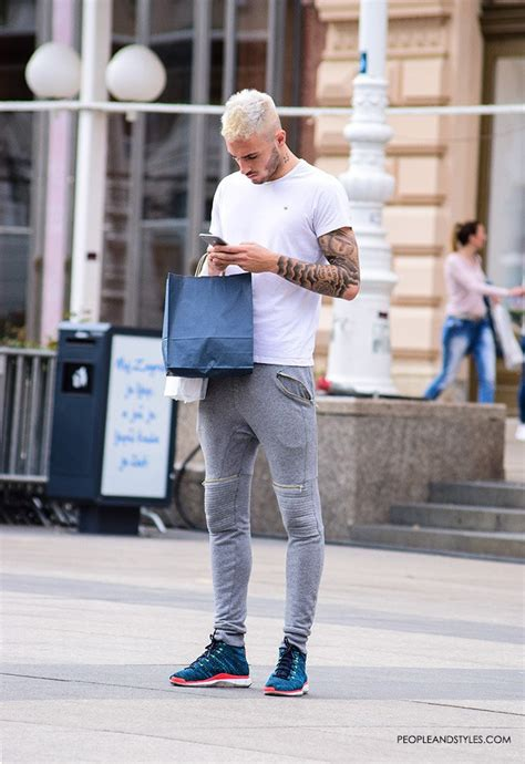 Casual Mens Look Grey Joggers and Cool Sneakers u2013 Fashion Trends and Street Style - People u0026 Styles