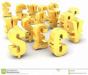 Different Gold National Currency Symbols Stock Image