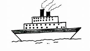 How to draw A Ship- in easy steps for children, kids ...
