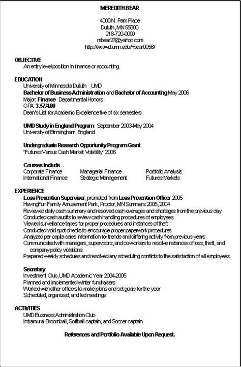 resume exles accounting position accounting position resume sle