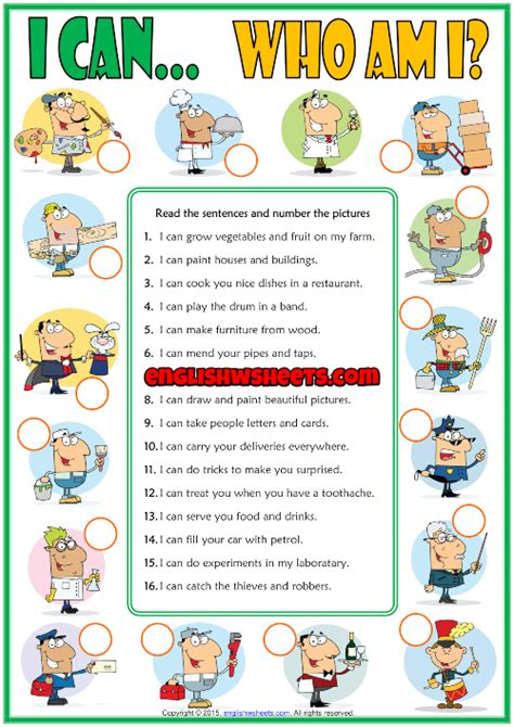 ability  esl jobs matching exercise worksheet  kids