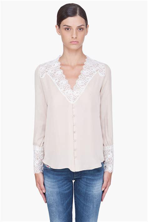 haute hippie blouse haute hippie taupe lace trim silk blouse in beige taupe