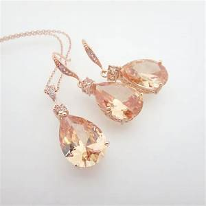 Rose Gold Bridal jewelry SET Rose Gold necklace Crystal