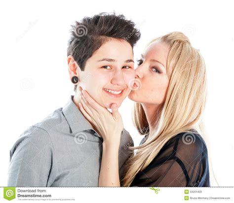 Same Sex Couple Isolated White Background Stock Photos
