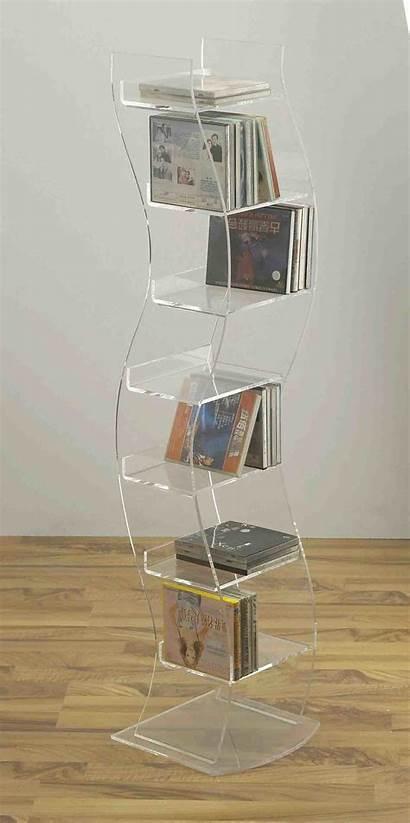 Cd Rack Acrylic Floor Holder Standing Dvd