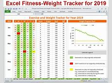 Excel Fitness Weight Tracker for Year 2019 Spreadsheet