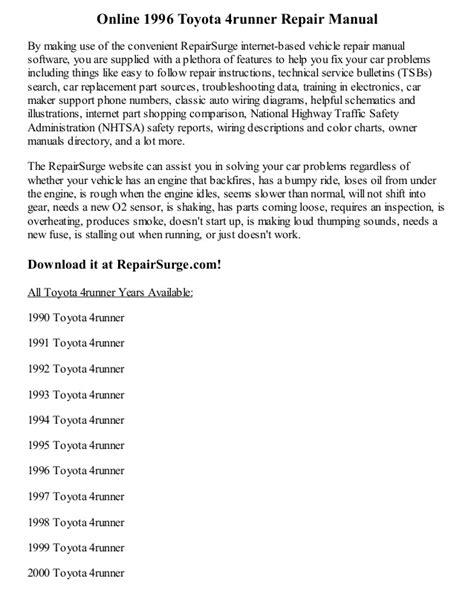 download car manuals pdf free 1994 toyota xtra interior lighting 1996 toyota 4runner repair manual online