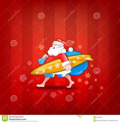 santa with surfboard royalty free stock photo image