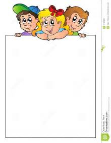 blank frame with lurking children stock photo image