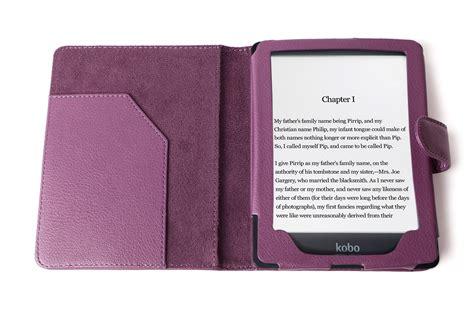 etui violet en aspect cuir pour le kobo glo 6 liseuse