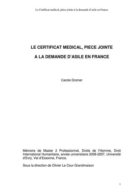 le certificat medical piece jointe  la demande dasile