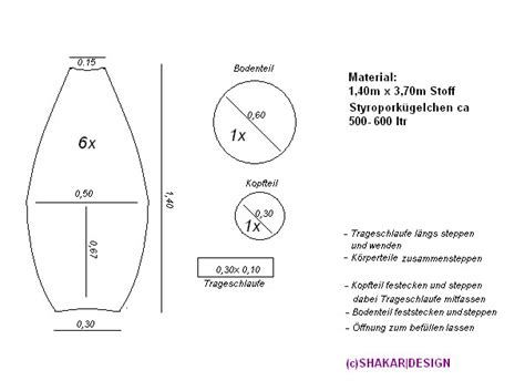 Sitzsack Selber Machen Schnittmuster by Schnittmuster F 252 R Einen Sitzsack Vorlagen Templates