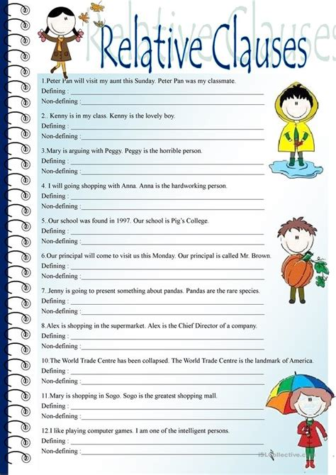 relative clauses worksheet  esl printable worksheets