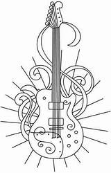 Guitar Coloring Pages Sheets Solo Colouring Bass Patterns Embroidery Designs Urbanthreads Printable Adult Paper Rock Outline Guitarra Tattoo Stencils Stencil sketch template