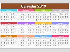 Free Printable Calendar 2019 USA, UK, India, Canada