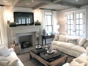 flatscreen tv over fireplace transitional living room
