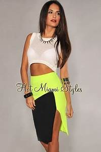 Neon Yellow Black Color Block Slit Skirt