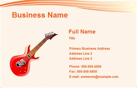 Free Business Card Music Templates