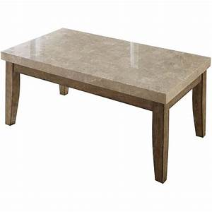 Steve silver franco marble top rectangular coffee table in for Marble top coffee table rectangle