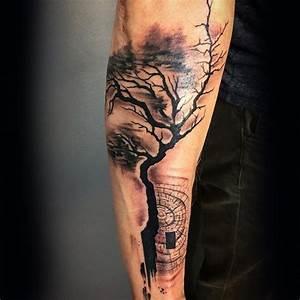 Mini Tattoos Männer : 60 unterarm baum tattoo designs f r m nner forest ink ideen mann stil tattoo ~ Frokenaadalensverden.com Haus und Dekorationen