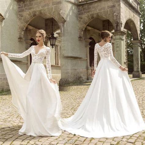 romantic white wedding dresses  long sleeve lace satin