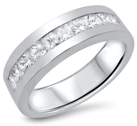 mens 1 10ct princess cut wedding band ring 14k white gold front jewelers