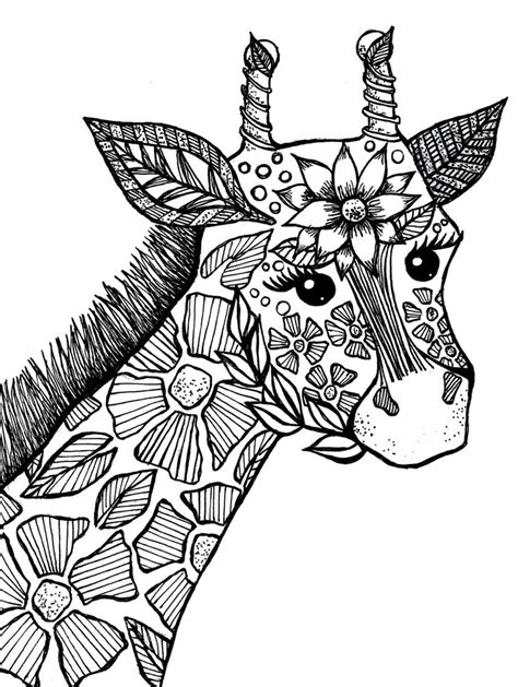Giraffe Adult Coloring Book Page | Drawings I've Made