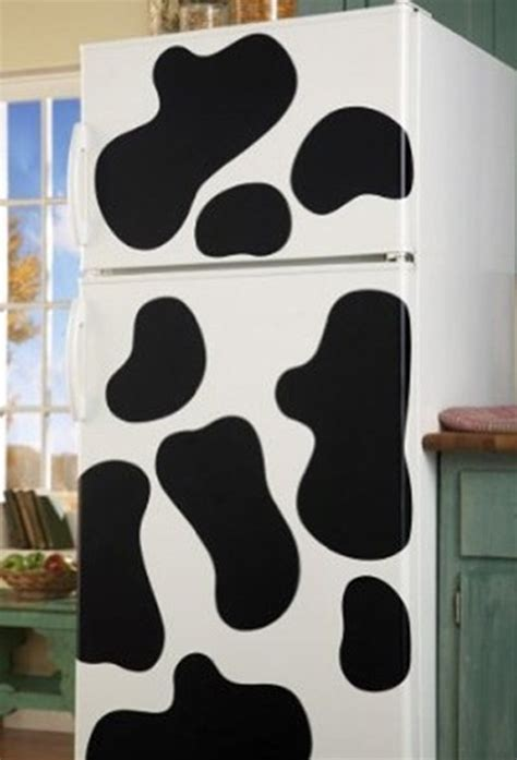 Cowhide Refrigerator by Vinyl Cow Spot Removable Wall Decals Will Make Your Fridge