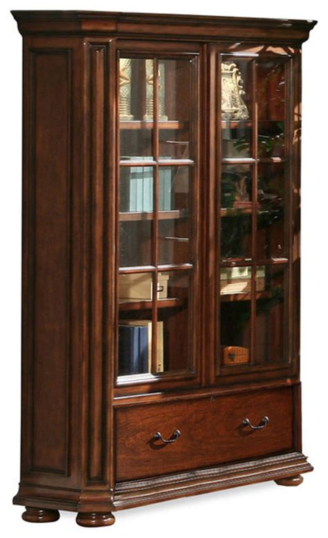 cherry bookcase with glass doors riverside cantata 76 quot glass door bookcase burnished