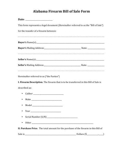 bill of sale template alabama free alabama firearm bill of sale form pdf docx