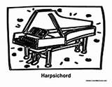 Harpsichord Coloring Pages Instrument sketch template