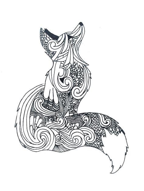 zentangle fox art fox coloring page fox art
