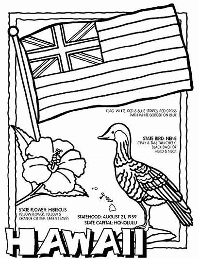 Coloring Hawaii Pages Hawaiian State Printable Sheets