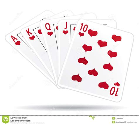royal straight flush playing cards stock vector image